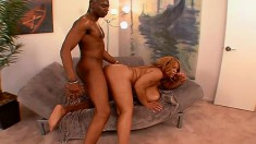 Juicy as fuck black broad with gianormous bazongas gets boned outside