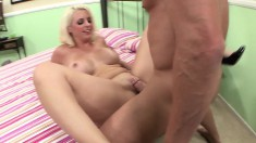 Insatiable blonde wife chokes on a stranger's immense pink oboe