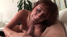 Beautiful redhead Charlie Ann reveals her great oral skills POV style