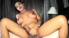 Stacked Asian ladyboy explores her desire for bareback sex on the bed