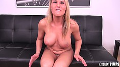 Stacked blonde Charima Capelli pleases her cunt with her fingers and a dildo