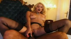 Blonde sucks his dick and toy fucks her cunt while he's banging her ass
