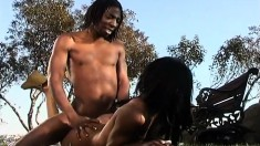 Gorgeous ebony teen with perky tits gets nailed by a black guy outside