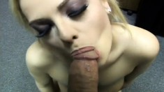 Sultry blonde with a wonderful ass blows and fucks a black dick in POV