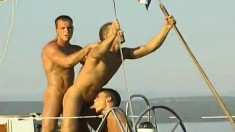 Gay studs sail on a yacht and spend the day sucking and banging ass