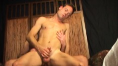 Attractive young boys with large dicks blowing and banging each other