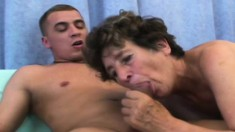 Nasty Old Lady Ludmila Has A Young Stud's Cock Making Her Pussy Happy