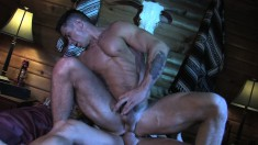 Muscled guy gets his anal hole tongued, fingered and fucked on the bed