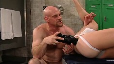 Beautiful boy seduces a bald headed hunk to punish his fiery anal hole