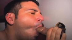 Horny Brunette Boy Francisco Milks Gloryhole Cocks With His Sexy Lips