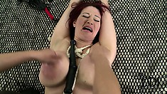Cruel blonde mistress savages her pet's massive juicy titties