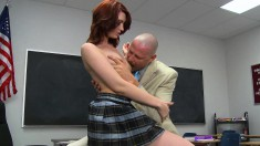 Sultry Redhead With Tiny Tits And A Spicy Ass Gets Banged On The Desk