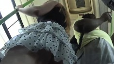 Hidden Upskirt While On The Bus