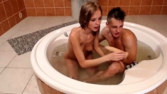 Hottest Amateur 19yo Teen Couple Fun In The Shower On Webcam