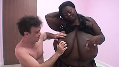Fat ebony gal with humongous tits shock the little white boy