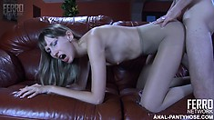 Pantyhosed bitch Florence A keeps begging her lover to fuck her harder