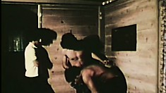 Vintage gay porn with three construction workers chewing on some meat