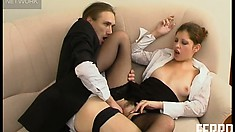 Sophia spreads her hot legs and invites Marcus to drill her pussy deep