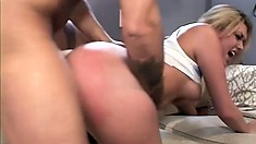 Exciting blonde with sexy tits Tiffany Rayne is addicted to anal sex