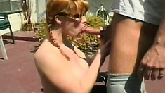 Shy ginger-haired babe sucks huge bone and gets her ass stretched