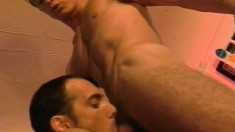 Two horny dudes get each other hard and ready to go at it all night