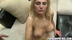 Cougar with big fake titties gets her shaved cunt pounded deep