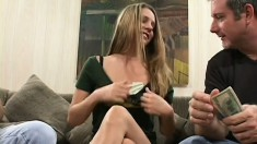 Adorable young blonde with big tits fucks two horny old guys for cash